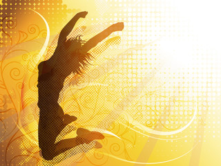 Vector design of a woman jumping silhouette