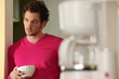 Man having coffee for breakfast