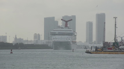 Cruise ship leaving Miami, Florida