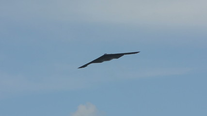 Startegic stealth bomber in flight