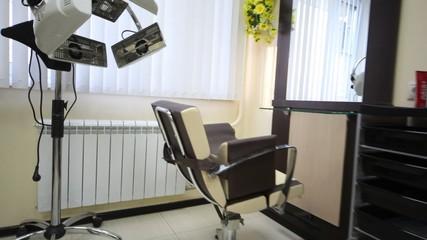 Flying motion of camera in salon hairdressing salon