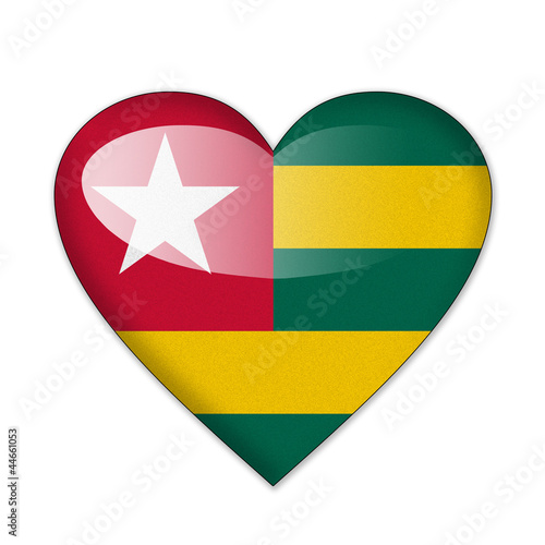 Togo flag in heart shape isolated on white background