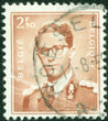 stamp printed in Belgium shows image of a leader man
