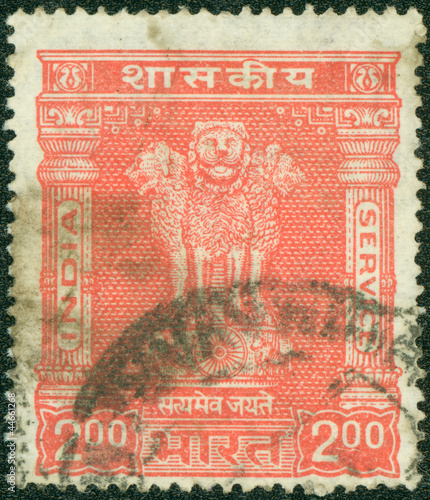 stamp printed by India, shows capital of Asoka Pillar