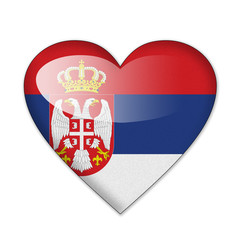 Serbia flag in heart shape isolated on white background