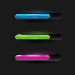Three modern glossy loading bars - vector file