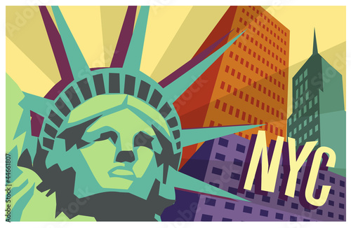 Illustration of New York City and Statue of Liberty - 44661807