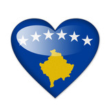 Kosovo flag in heart shape isolated on white background poster