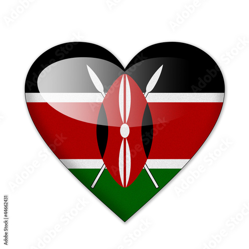 Kenya flag in heart shape isolated on white background