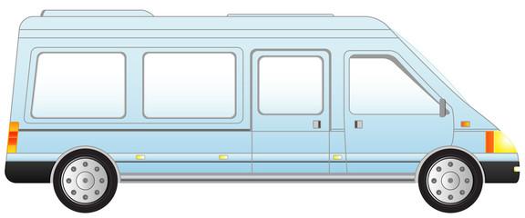 transport icon minivan - isolated blue mini bus
