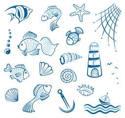 Maritim, Muscheln, Fische, Aquaristik, vector set