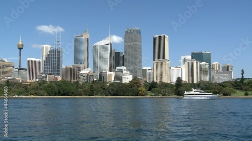 Skyline of Sydney with Waterfront of Harbor Bay and a Boat