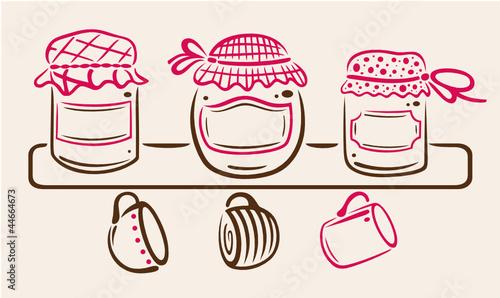 Marmelade, Regal, Marmeladengläser, vector