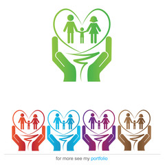 Company (Business) Logo Design, Vector, Heart, Family, Hands