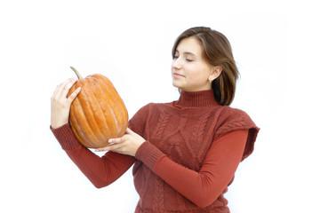 Halloween Girl gives a pumpkin