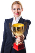 Businesswoman with prize on white