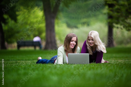 Women Using Laptop in Park