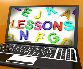 Lessons Message On Computer Screen Showing Online Education