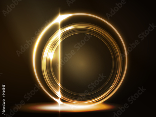 Golden glowing round frame