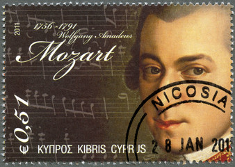 CYPRUS - 2011 : shows Wolfgang Amadeus Mozart (1756-1791)