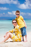 Mother and son at beach