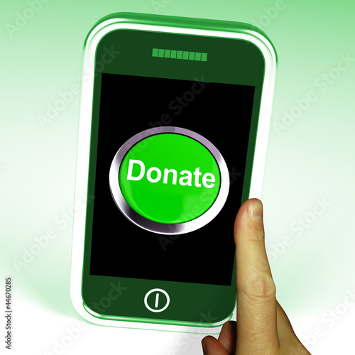 Donate Button On Mobile Shows Charity And Fundraising