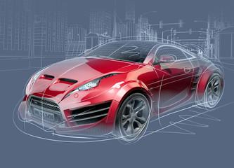 Sports car sketch. Original car design. © -Misha