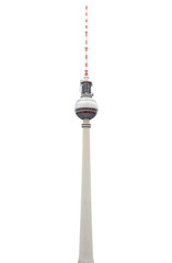 Tv tower in Berlin isolated on white with clipping path