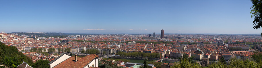 Panoramic View of Lyon from Fourviere Hill