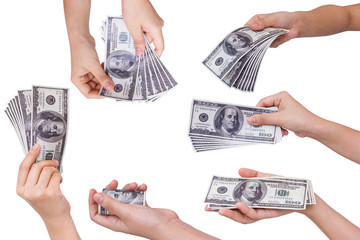 Collection of Hands holding dollars isolated on white background