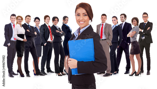 young business woman leading a team