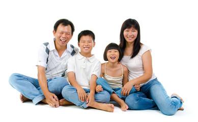 Fullbody happy Asian family