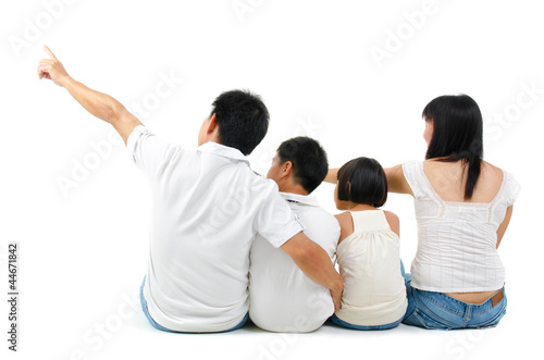 Rear view of Asian family