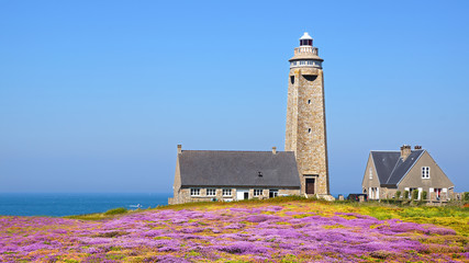 Lighthouse on Cap Levi Fermanville. Brittany, France.