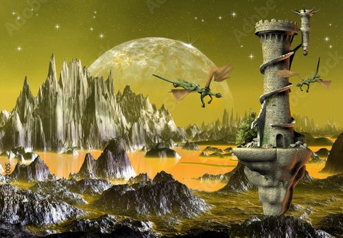 Deurstickers Draken Fantasy Scene With Dragons And A Tower