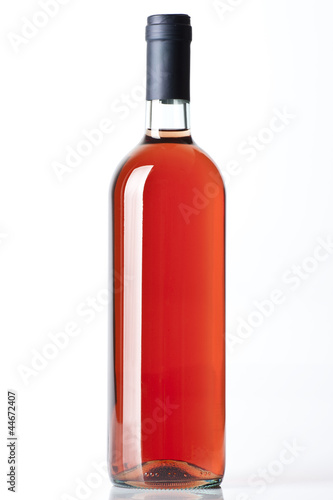 A rose wine bottle on the white background