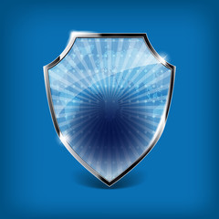 Glossy security shield on blue background