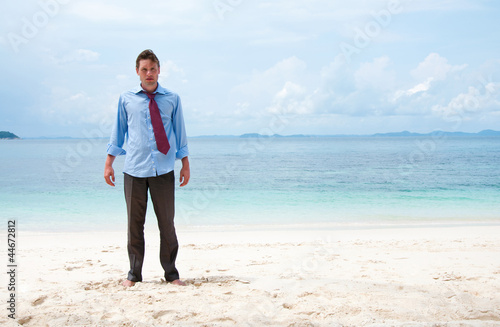 Funny business man on the beach
