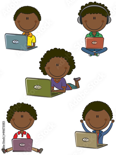 Cheerful African-American boys with laptops