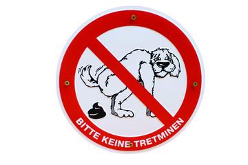 Hundeklo Schild keine Tretminen Hund Haufen