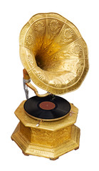 Golden gramophone. Clipping path included.