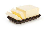 Butter on butterdish isolated on white with clipping path