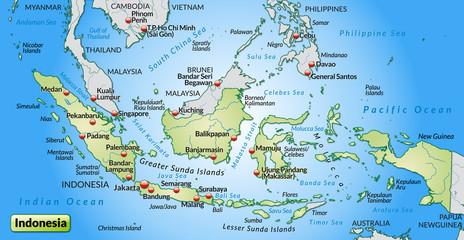 Übersichtskarte von Indonesien mit Städten