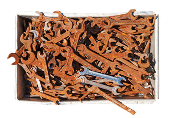 Old wrenches in box