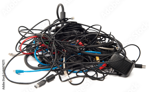 Heap of computer cables isolated on white - 44674271