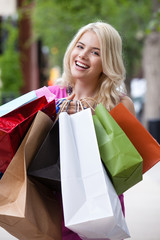 Portrait of Happy Shopping Woman