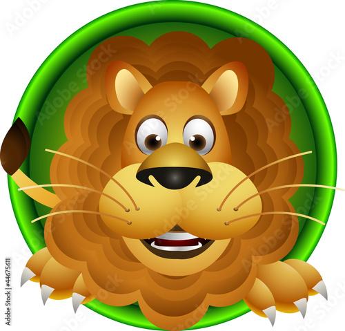 Cute cartoon głowa lwa