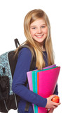 girl with schoolbag smiling