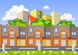 Colorful abstract vector city, row building. Illustration