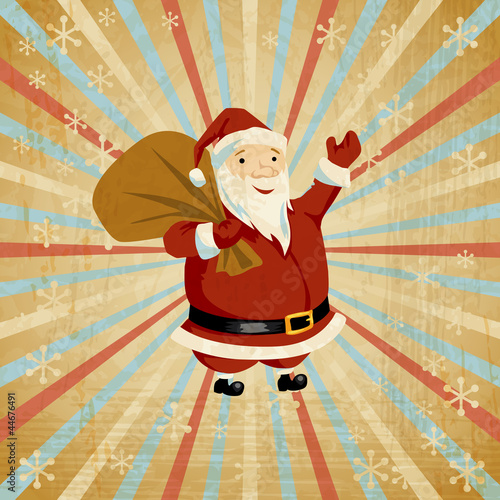 Vector Christmas background with Santa holding big bag of gifts.